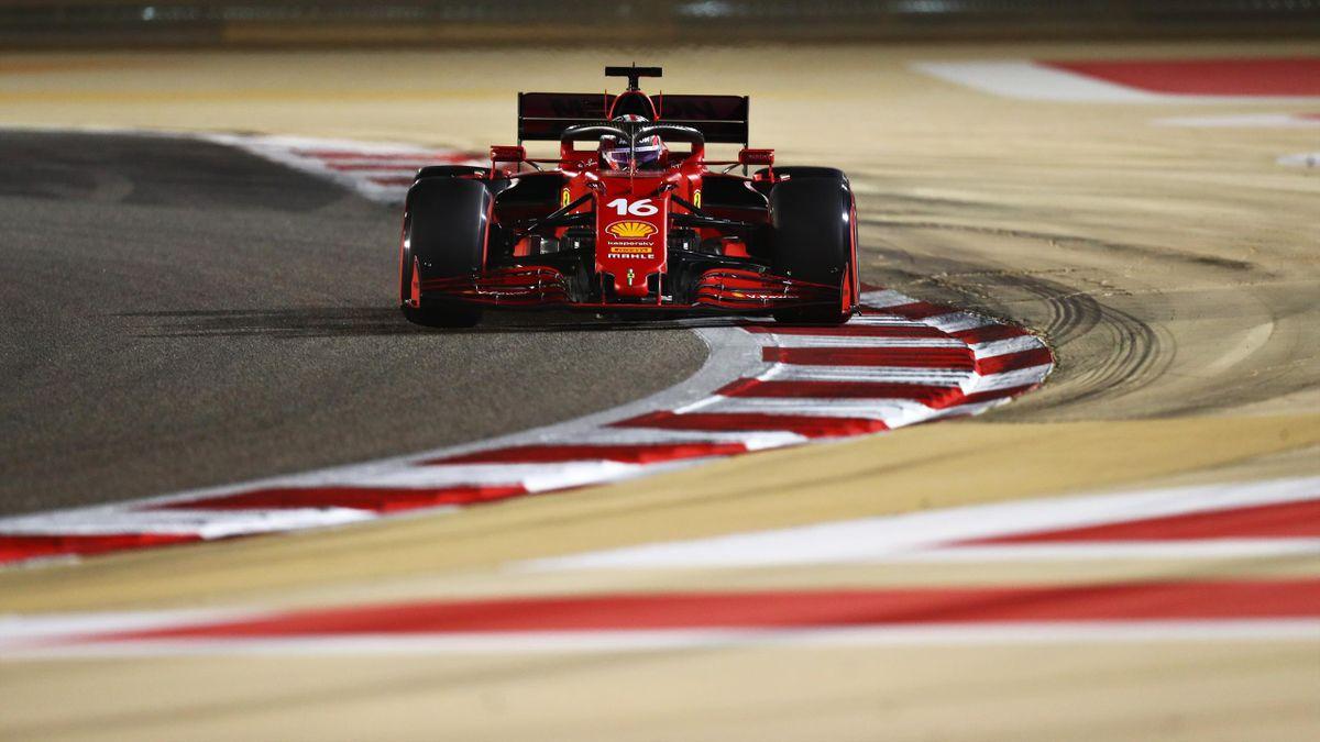 Charles Leclerc (Ferrari) lors des essais qualificatifs du grand prix de Bahrein