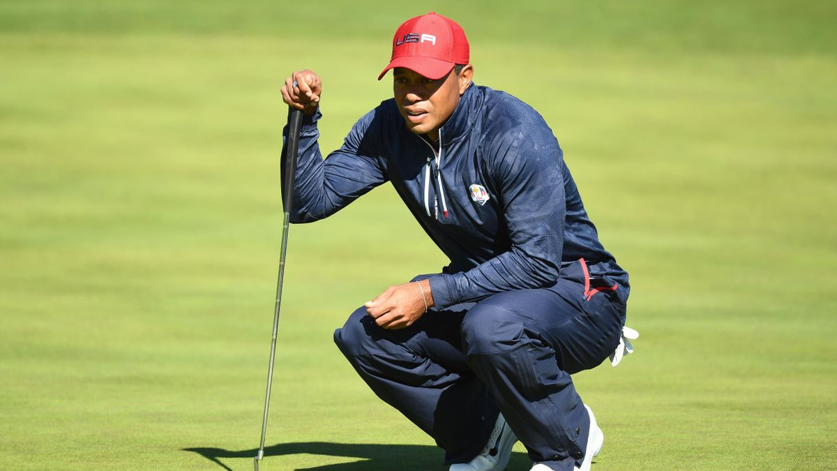 Tiger Woods lors de son simple contre Jon Rahm - Ryder Cup 2018
