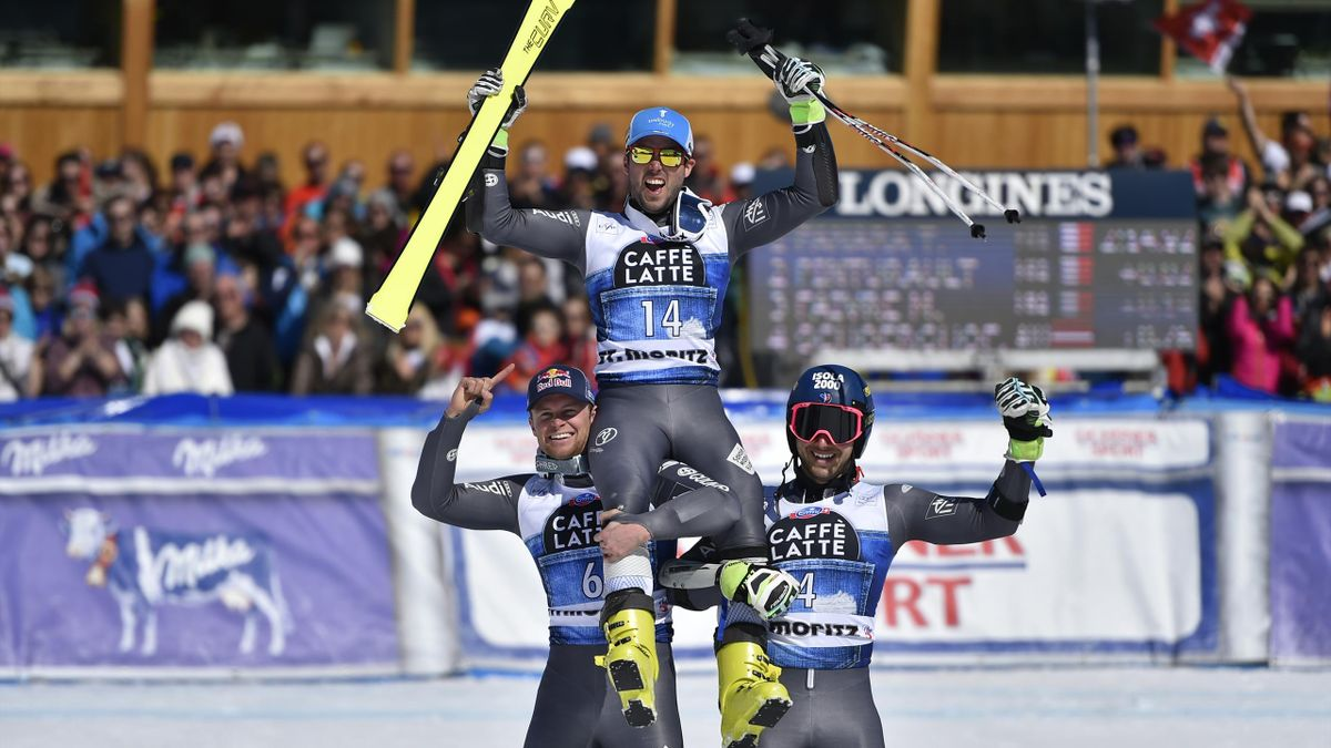 Thomas Fanara, Alexis Pinturault et Mathieu Faivre lors du géant de St-Moritz