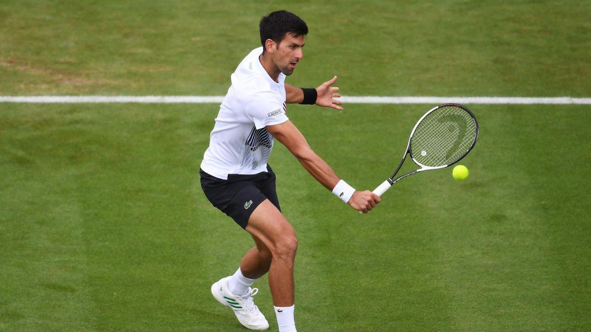 Novak Djokovic lors de sa demie à Eastbourne