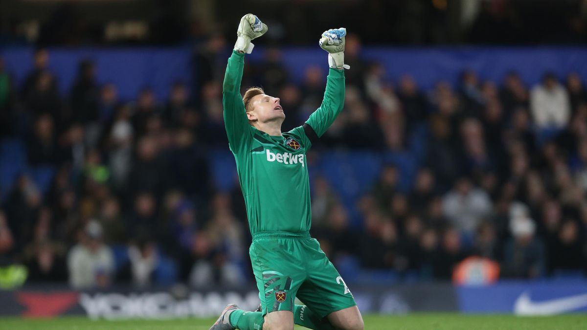 West Ham United's David Martin celebrates at the end of the game during the Premier League match between Chelsea FC and West Ham United at Stamford Bridge on November 30, 2019 in London, United Kingdom