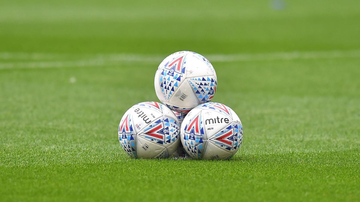 A general view of footballs in The DW Stadium, home of Wigan Athletic during the Sky Bet Championship match between Wigan Athletic and Fulham at DW Stadium on July 22, 2020 in Wigan, England.
