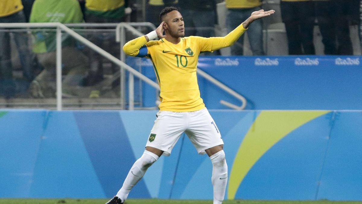 Neymar après son but face à la Colombie