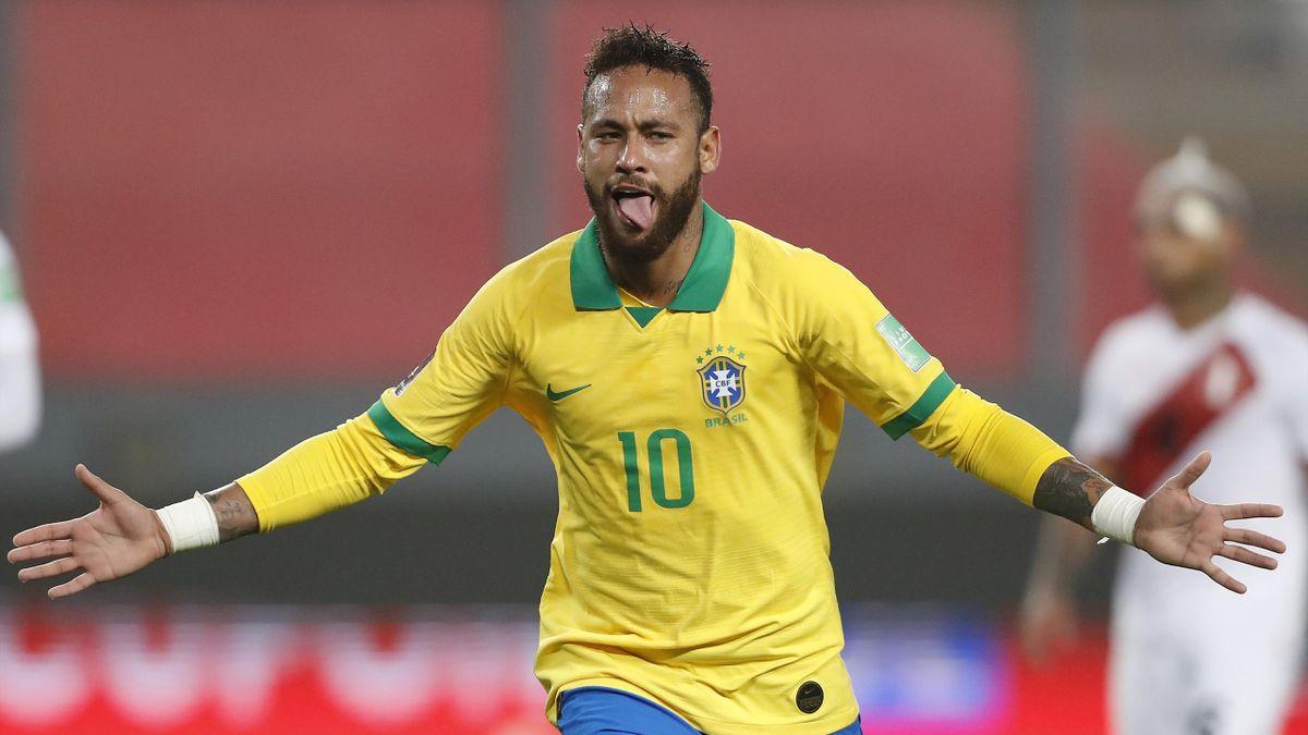 Neymar, auteur d'un triplé avec le Brésil face au Pérou, le 13 octobre 2020