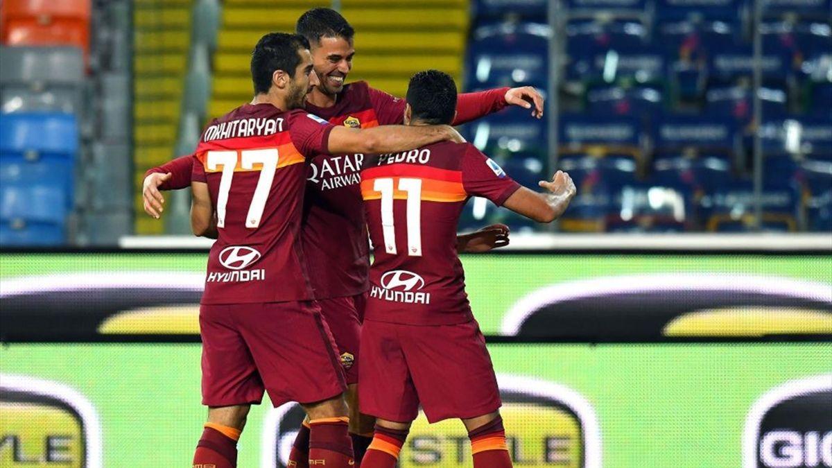 L'esultanza dei giocatori della Roma - Udinese-Roma Serie A 2020-21