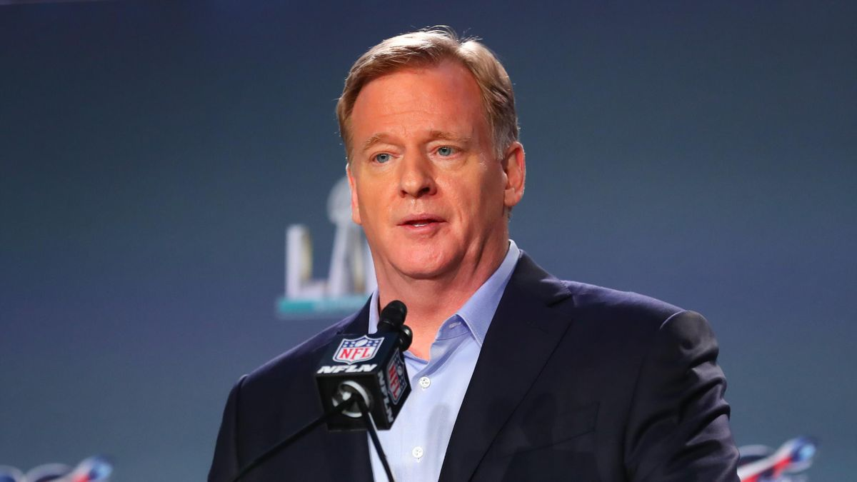 NFL Commissioner Roger Goodell speaks during the Commissioners press conference on January 29, 2020 at the Hilton Downtown in Miami, FL