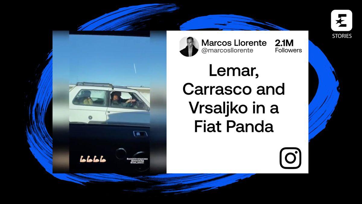 Lemar, Carrasco y Vrsaljko van a entrenar en un Fiat Panda por la nevada