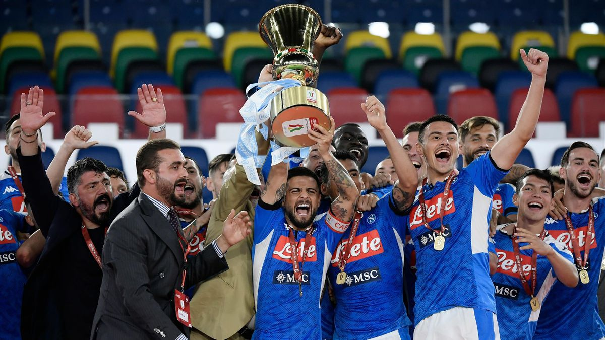 Napoli celebrate winning the Coppa Italia after beating Juventus in a penalty shootout.