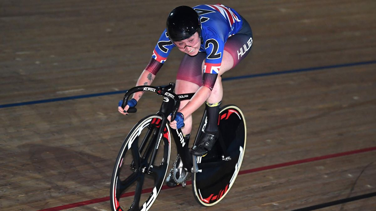 Katie Archibald of Great Britain on her way to winning the Elimination during Day Four of the London Six Day Race at Lee Valley Velopark Velodrome on October 25, 2019 in London, England.