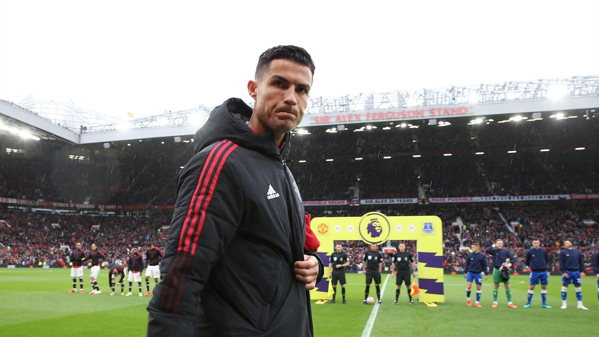 Cristiano Ronaldo of Manchester United walks out ahead of the Premier League match between Manchester United and Everton at Old Trafford