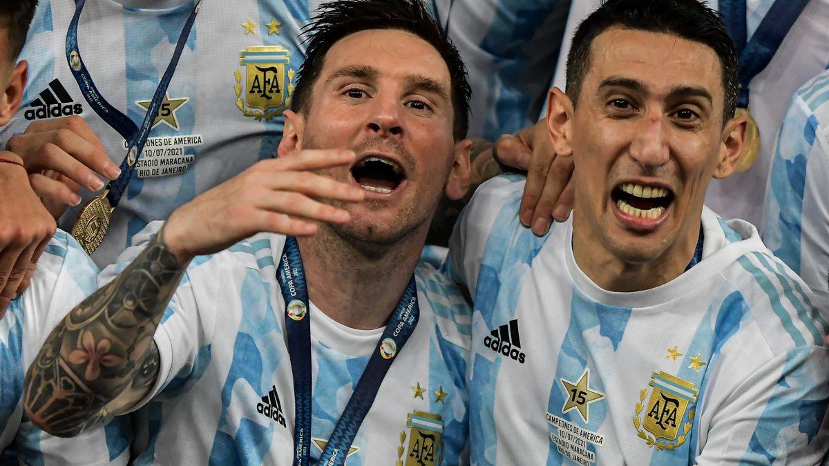 Lionel Messi et Angel Di Maria après la victoire en finale de la Copa America 2021.