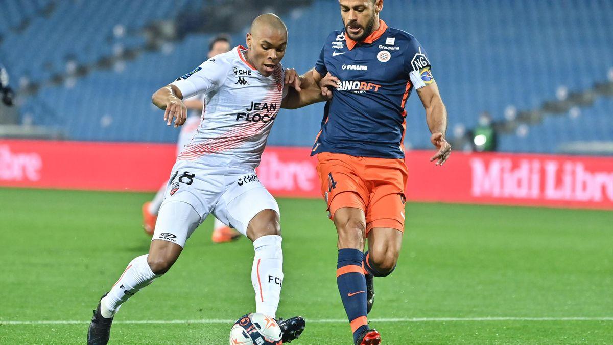 Armand Laurienté et Vitorino Hilton au duel lors de Montpellier-Lorient (Ligue 1)