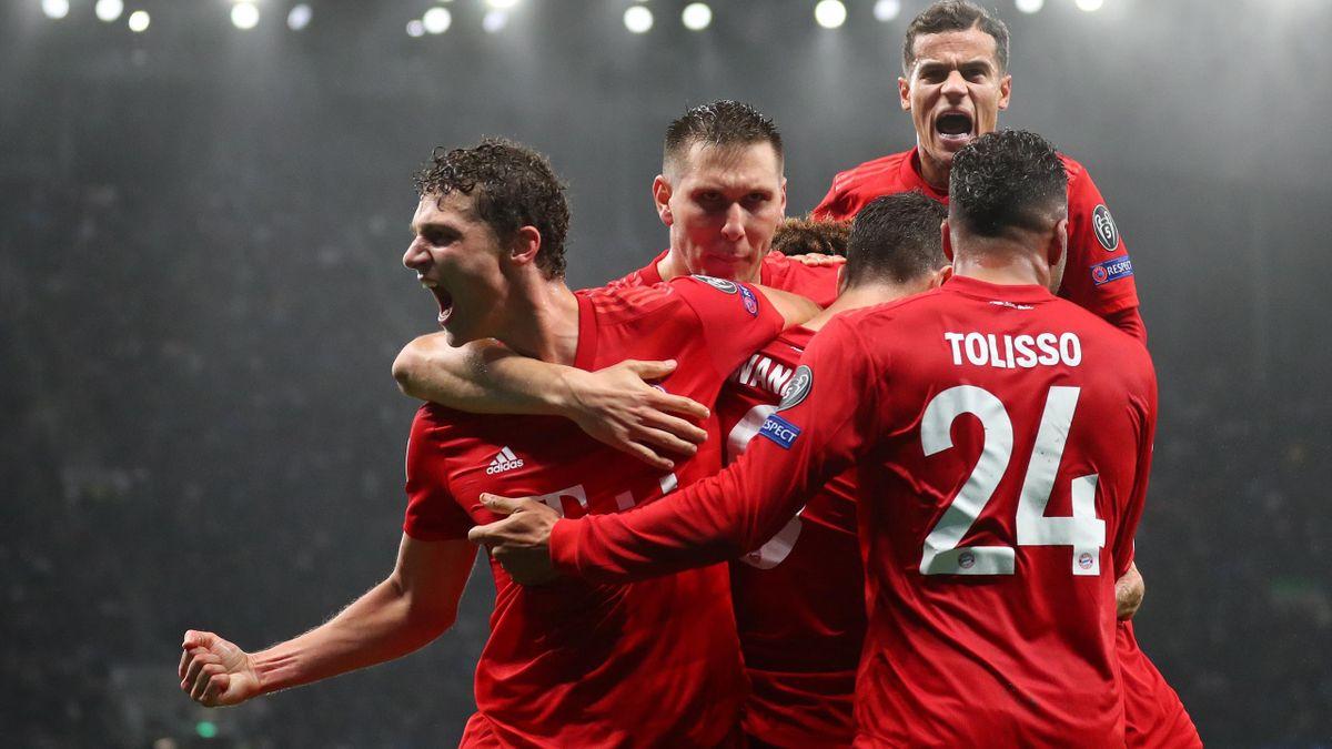 Les joueurs du Bayern célèbrent le but de Lewandowski face à Tottenham