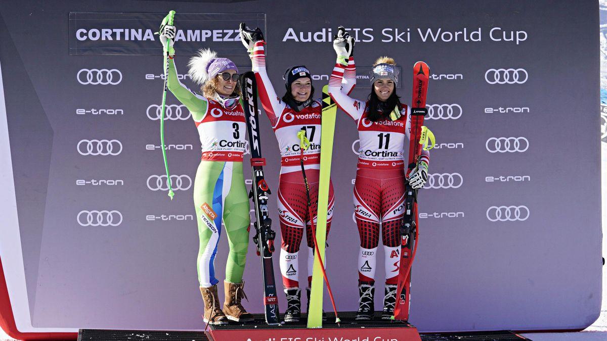 Ilka Stuhec of Slovenia takes 2nd place, Ramona Siebenhofer of Austria takes 1st place, Stephanie Venier of Austria takes 3rd place during the Audi FIS Alpine Ski World Cup Women's Downhill on January 18, 2019