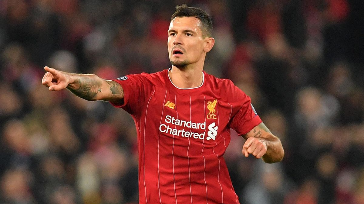 Dejan Lovren celebrates scoring equalising goal during the UEFA Champions league Group E football match between Liverpool and Napoli