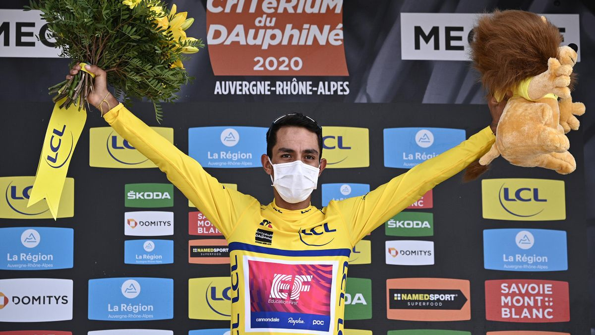 Dani Martinez celebrates winning the Criterium du Dauphine