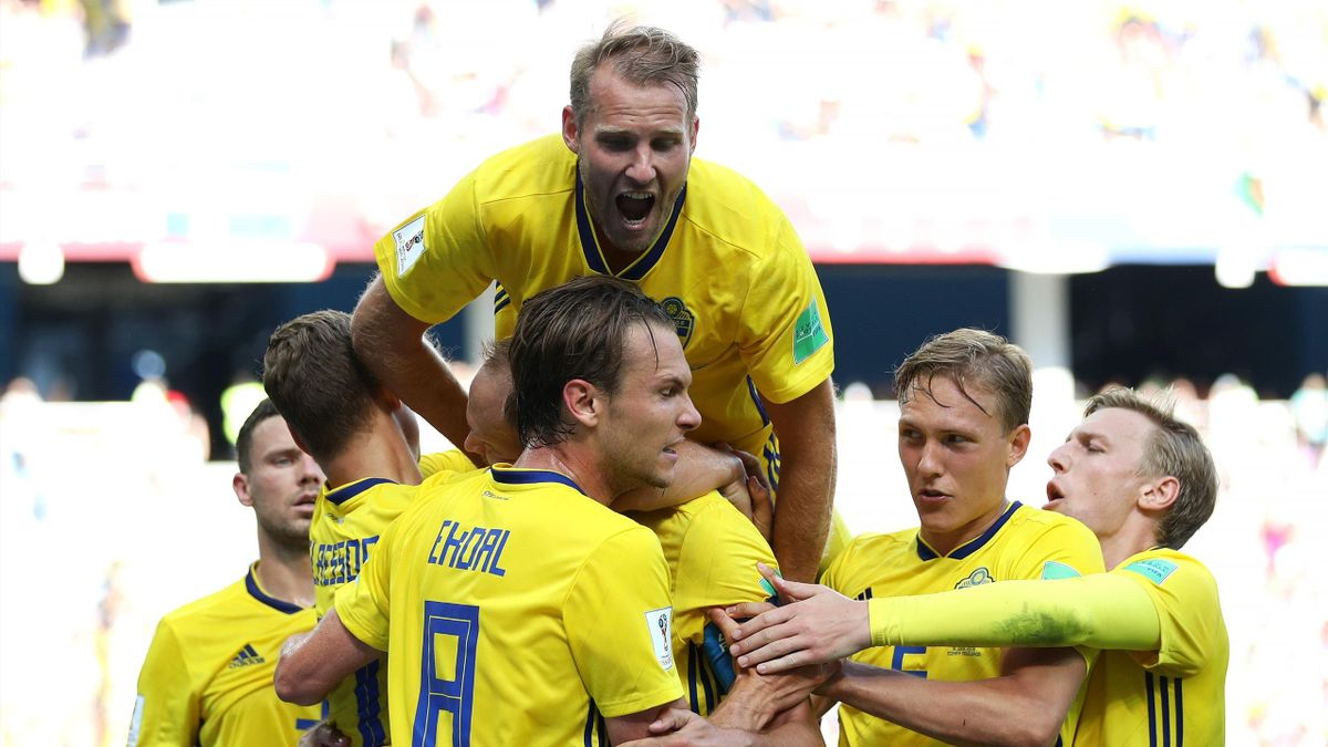 Andreas Granqvist of Sweden celebrates with teammates after scoring his team's first goal during the 2018 FIFA World Cup Russia group F match between Sweden and Korea Republic at Nizhniy Novgorod Stadium on June 18, 2018 in Nizhniy Novgorod, Russia