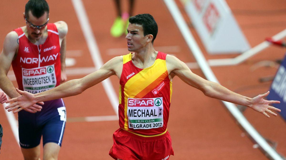Adel Mechaal, después de ganar la final de los 3000 metros en Belgrado