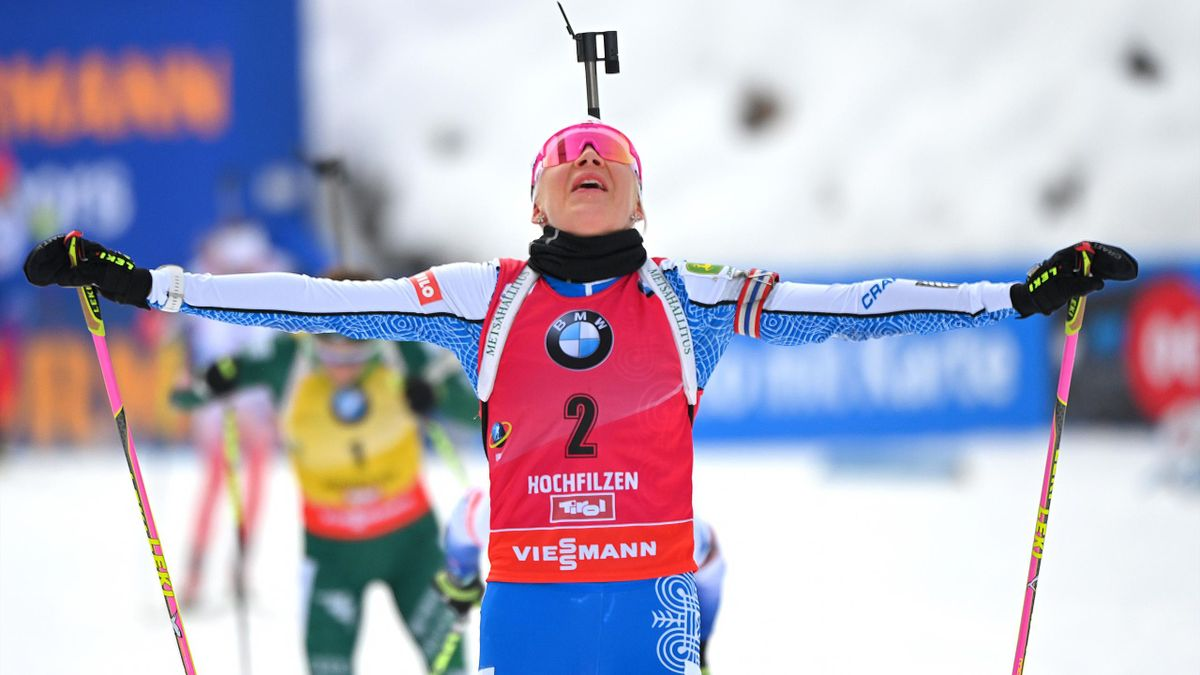 Kaisa Makarainen of Finland celebrates her victory during the women's 10 km pursuit event of the IBU Biathlon World Cup in Hochfilzen, Austria on December 15, 2018. (Photo by JOE KLAMAR / AFP) (Photo credit should read JOE KLAMAR/AFP/Getty Images)
