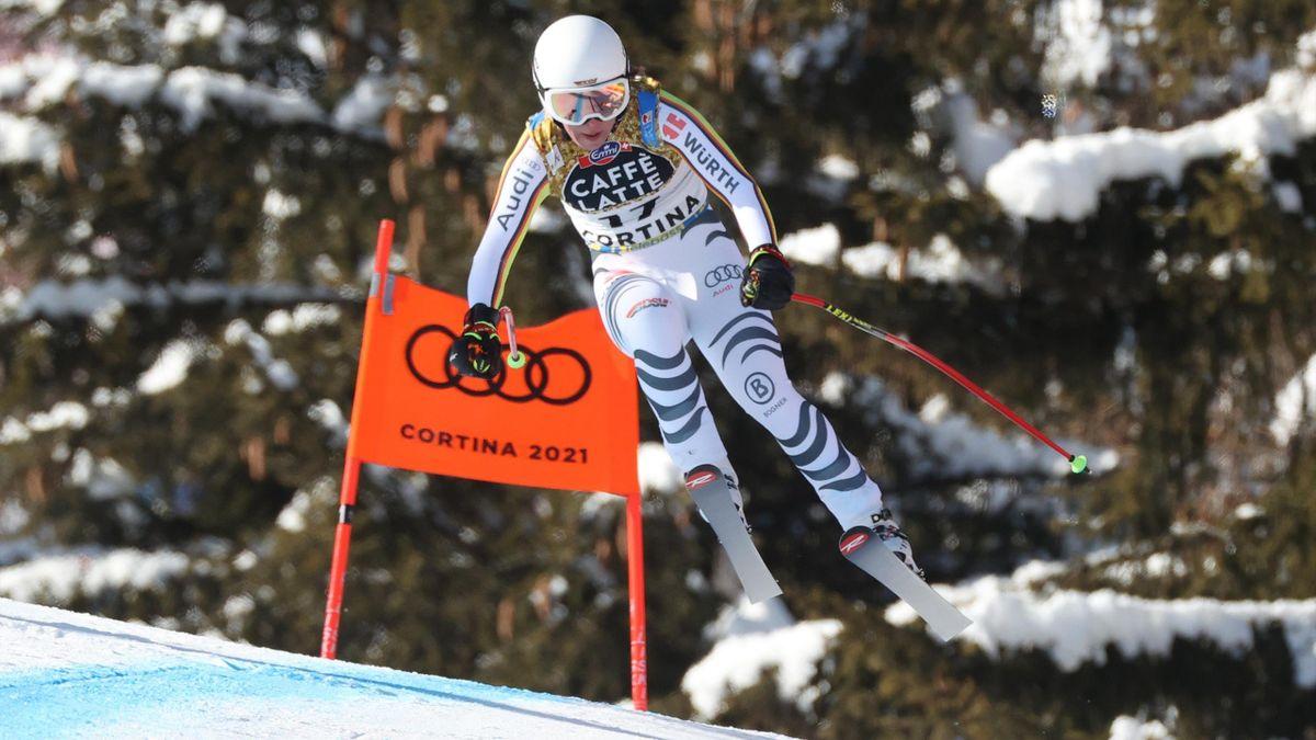 Kira Weidle im Abfahrtstraining in Cortina d'Ampezzo