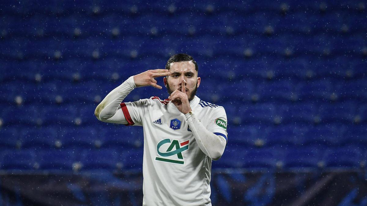 Rayan Cherki, buteur lors du 32e de finale de Coupe de France opposant Lyon à Ajaccio, le 9 février 2021