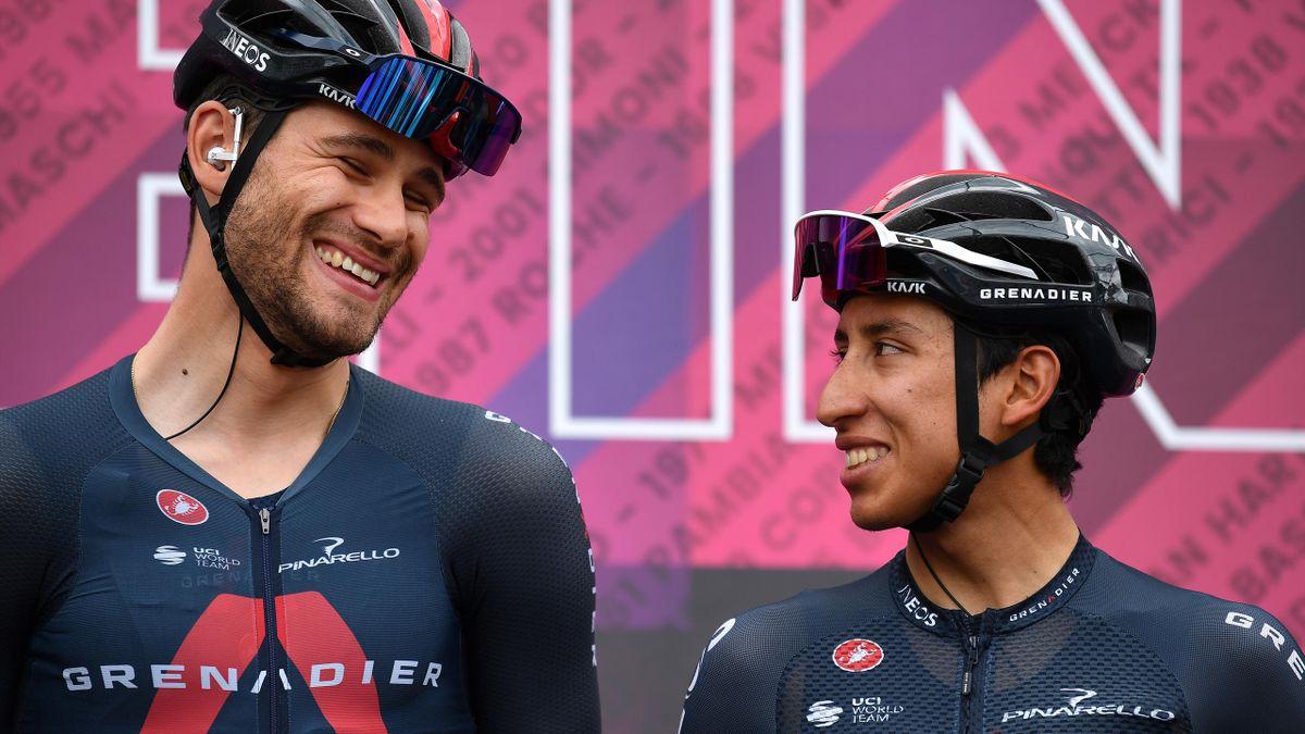 Ineos teammates Filippo Ganna and Egan Bernal share a joke at sign-on.
