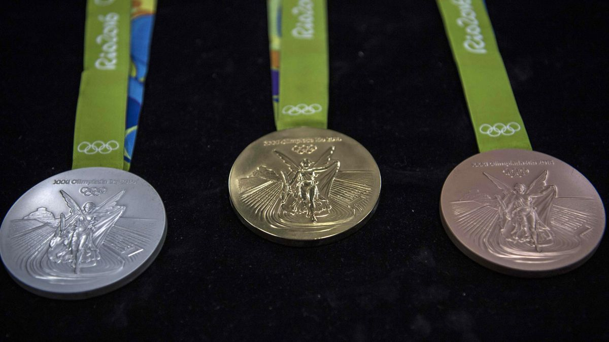 Gold, silver and bronze medals for the Rio Olympic Games are displayed at a coin factory in Rio de Janeiro, Brazil, on July 18, 2016
