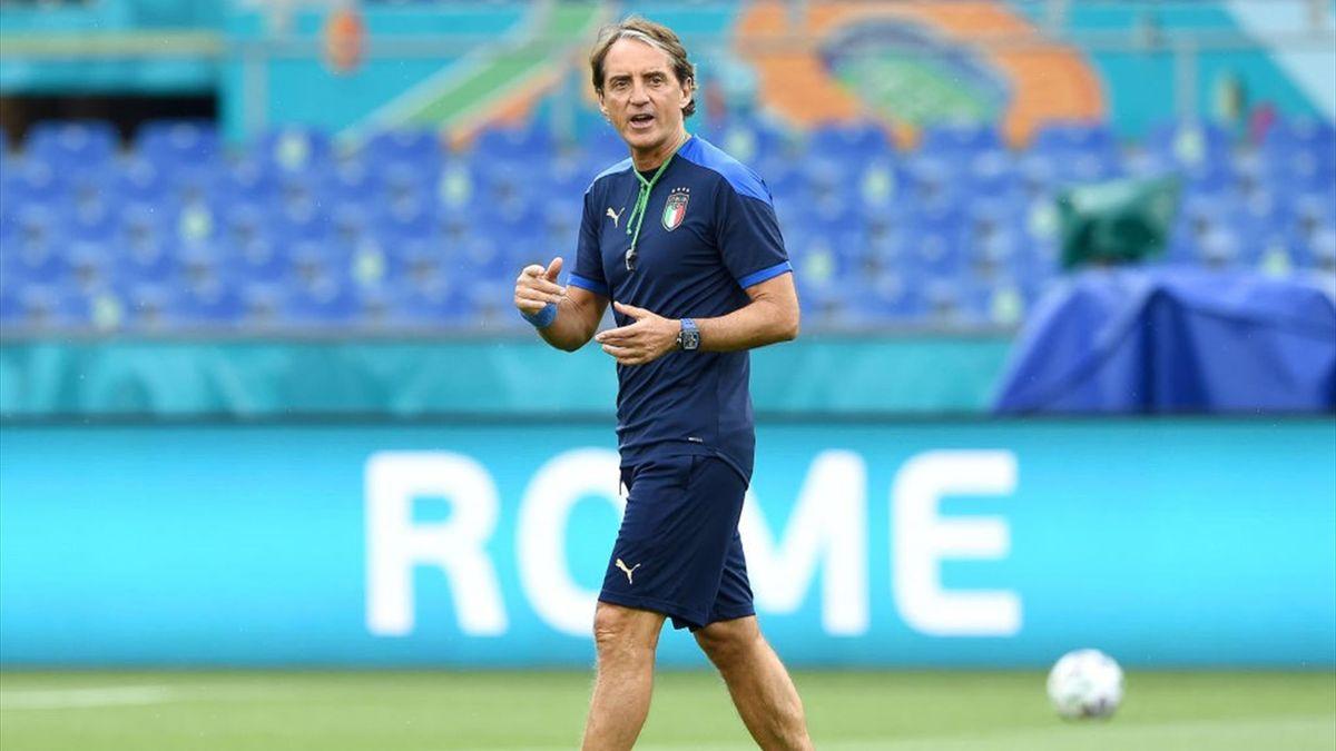 Il commissario tecnico della Nazionale azzurra Roberto Mancini