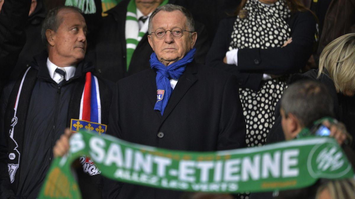 Jean-Michel Aulas lors d'un derby à Geoffroy-Guichard