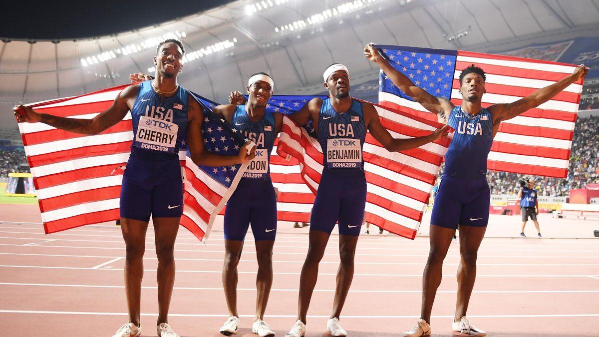 Fred Kerley, Michael Cherry, Wilbert London, et Rai Benjamin : le relais 4x400m américain sacré aux Mondiaux de Doha 2019