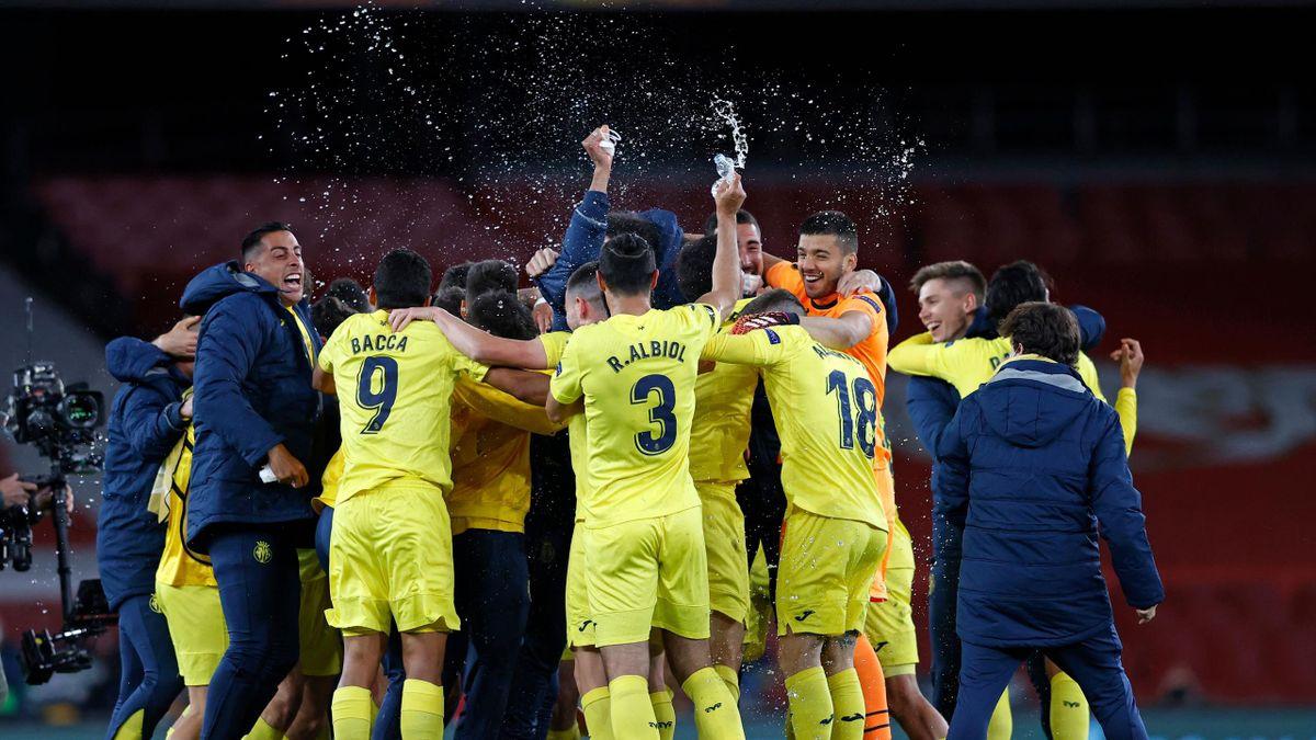 La joie des joueurs de Villarreal après leur qualification en finale de la Ligue Europa
