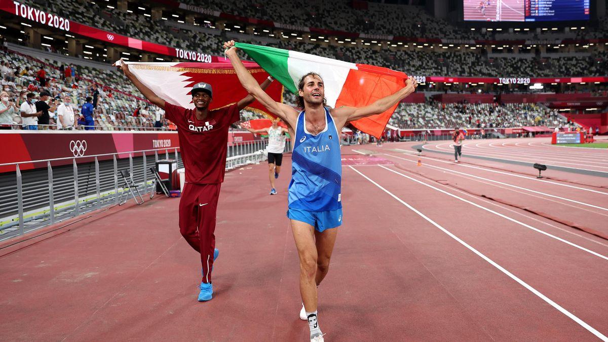 Mutaz Essa Barshim uit Qatar en Gianmarco Tamberi uit Italië winnen beide goud