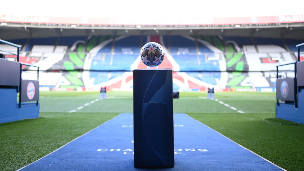 detailed view of the match ball prior to the UEFA Champions League Quarter Final Second Leg match between Paris Saint-Germain and FC Bayern Munich at Parc des Princes on April 13, 2021 in Paris