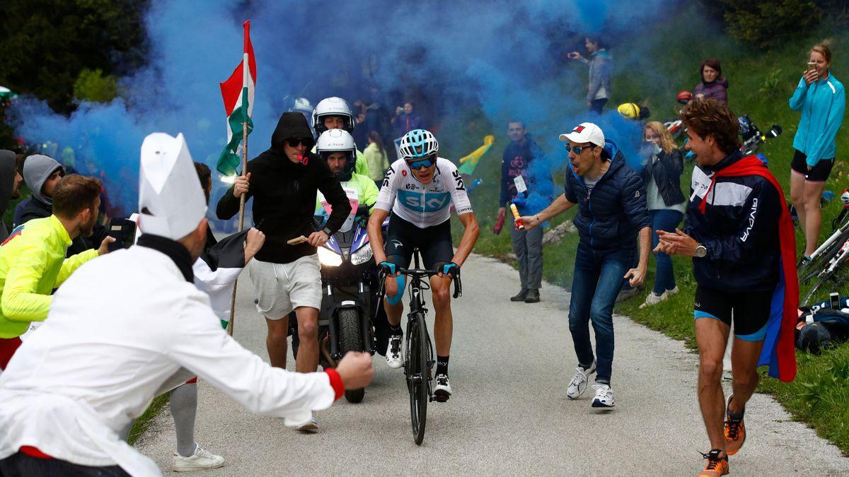 Chris Froome , sur les pentes du Monte Zoncolan lors du Giro d'Italia 2018