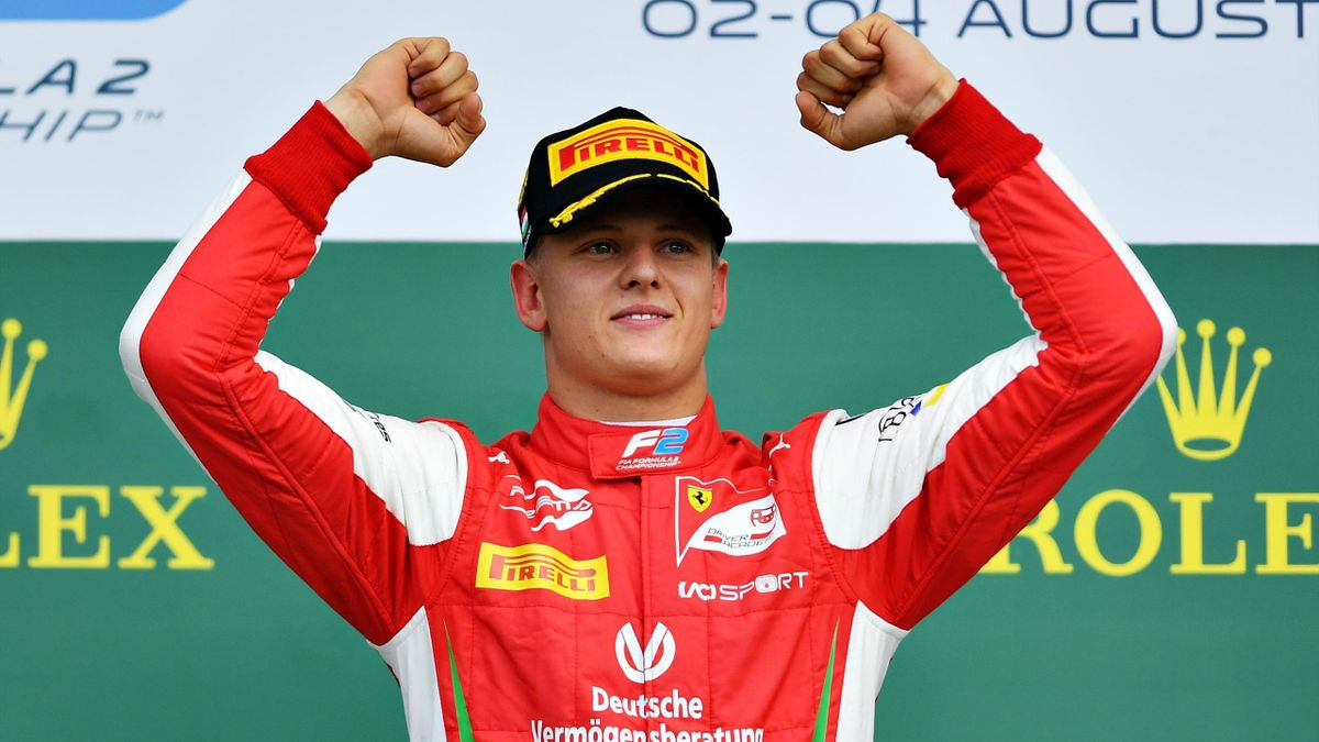 Race winner Mick Schumacher of Germany and Prema Racing celebrates during the sprint race of the Formula 2 Grand Prix of Hungary at Hungaroring on August 04, 2019 in Budapest, Hungary.