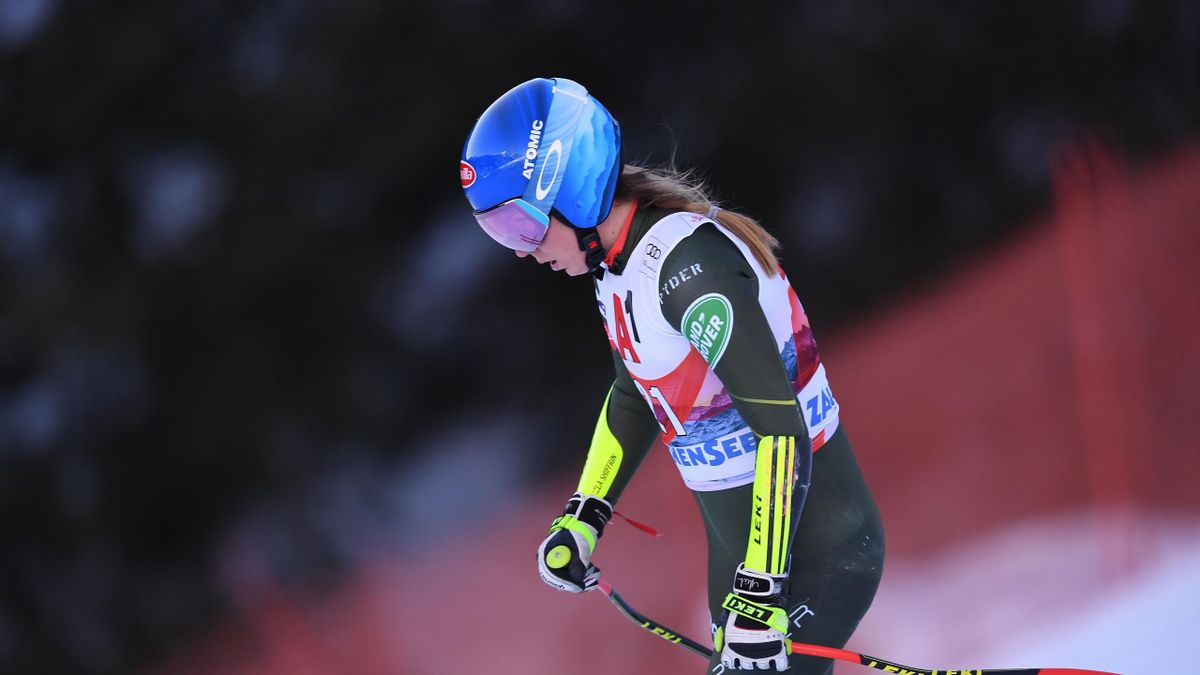 US' Mikaela Shiffrin skies freestyle after beeing disqualified in the women's Alpine Combined Super G event during the FIS ski Alpine World Cup in Zauchensee Altenmarkt, Austria on January 12, 2020.