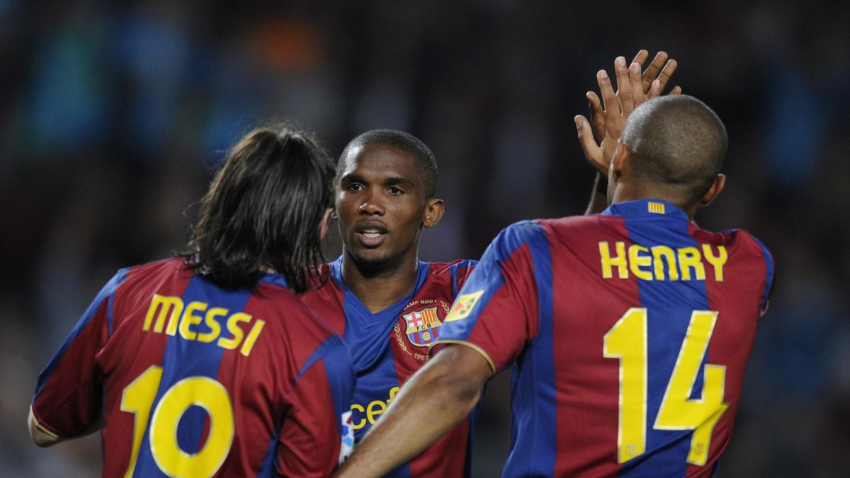Lionel Messi, Samuel Eto'o et Thierry Henry avec le Barça, en 2008.