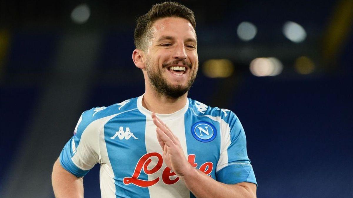 Mertens esulta dopo un gol in Roma-Napoli - Serie A 2020/2021 - Getty Images