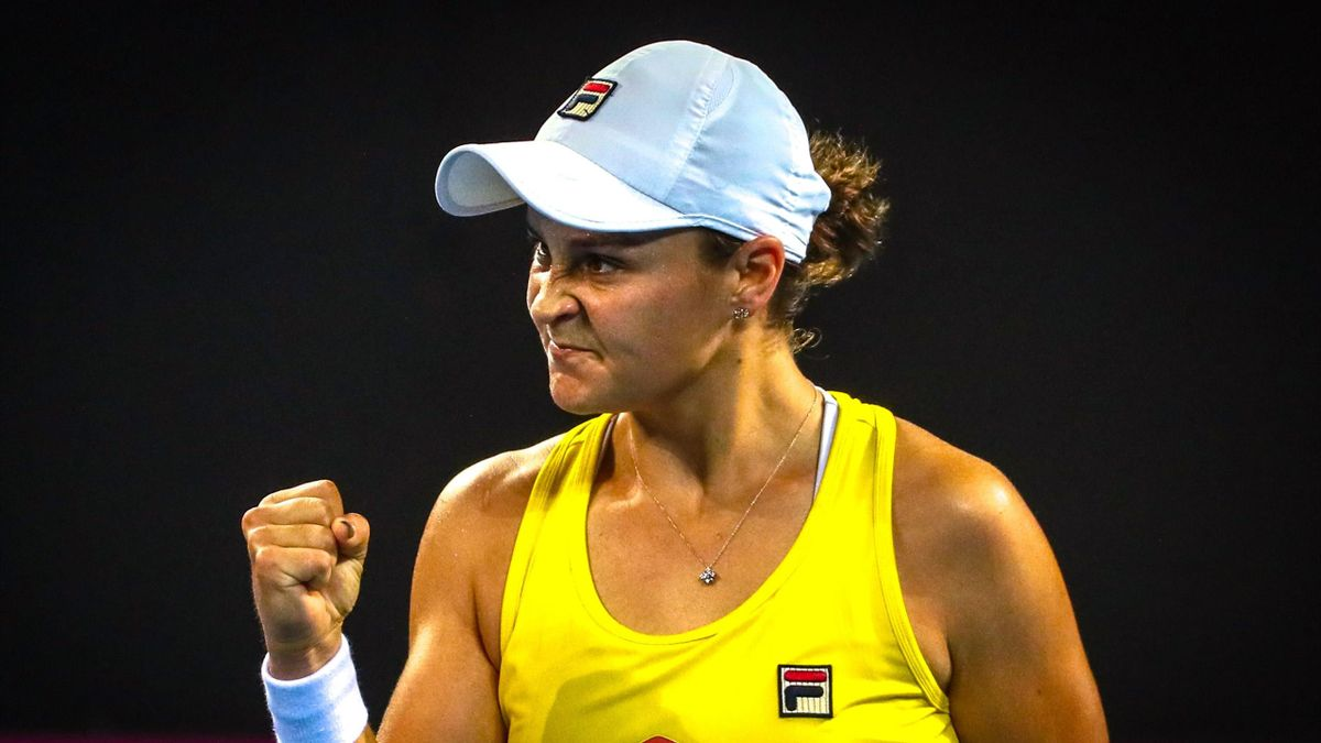 Ashleigh Barty of Australia celebrates her victory over Victoria Azarenka of Belarus during the Fed Cup tennis semi-final between Australia and Belarus at the Pat Rafter Arena in Brisbane on April 20, 2019.