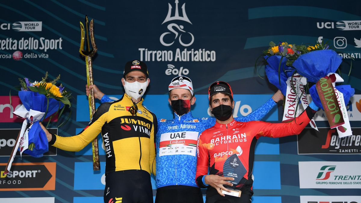 Podium / Wout Van Aert of Belgium and Team Jumbo - Visma, Tadej Pogacar of Slovenia and UAE Team Emirates Blue Leader Jersey & Mikel Landa Meana of Spain and Team Bahrain Victorious Celebration, during the 56th Tirreno-Adriatico 2021, Stage 7 a 10,1km Ind
