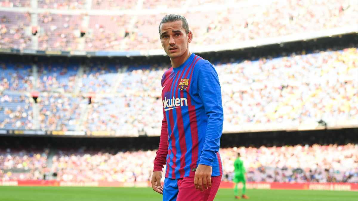 Antoine Griezmann of FC Barcelona looks on during the La Liga Santader match between FC Barcelona and Getafe CF at Camp Nou on August 29, 2021 in Barcelona, Spain