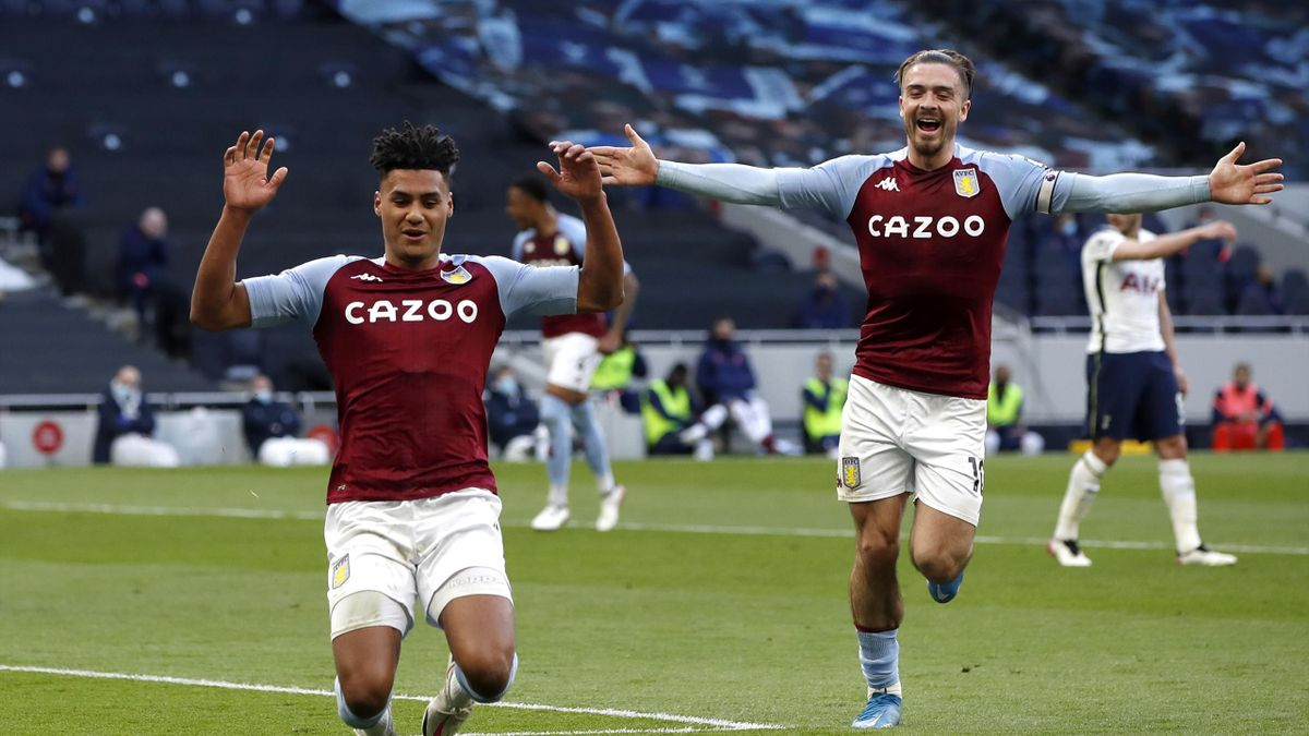 Ollie Watkins (L) of Aston Villa celebrates with team mate Jack Grealish after scoring their side's second goal during the Premier League match between Tottenham Hotspur and Aston Villa at Tottenham Hotspur Stadium