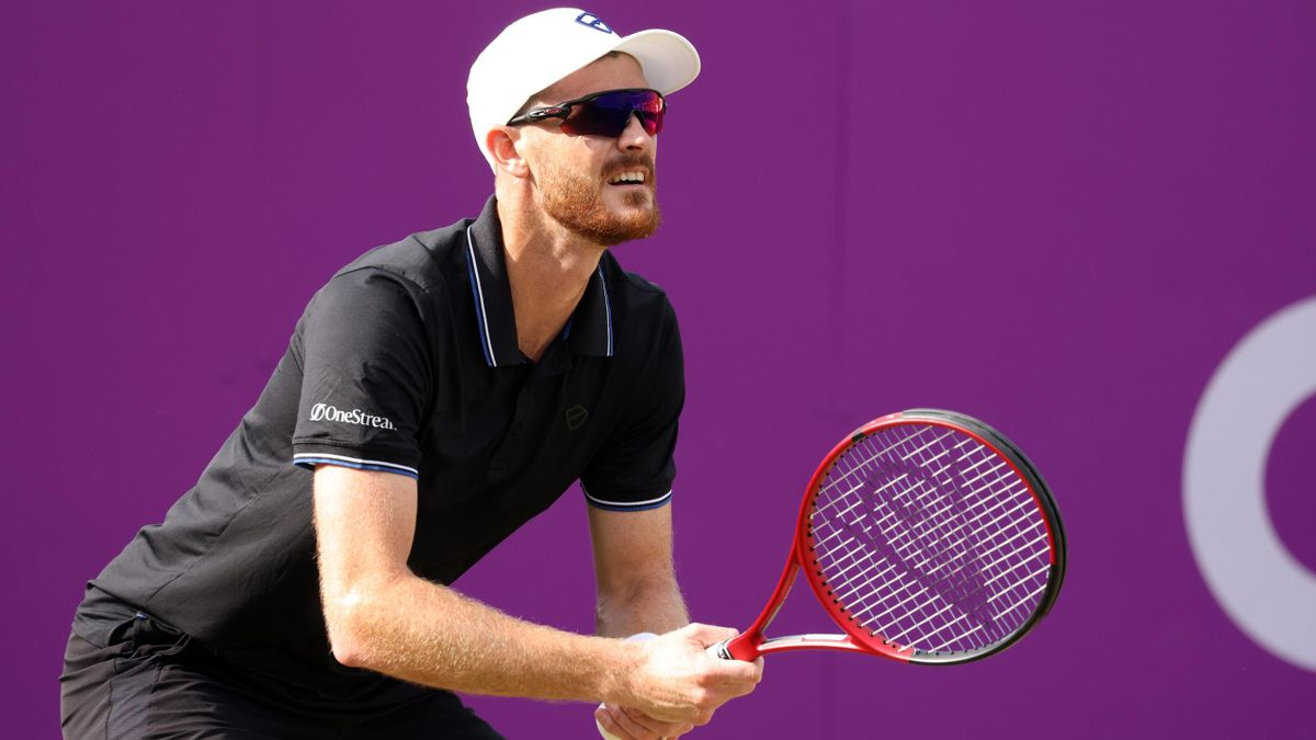 Jamie Murray of Great Britain, playing partner of Bruno Soares of Brazil looks on during there Round of 16 match against Aslan Karatsev of Russia and Max Purcell of Australia during Day 3 of The cinch Championships at The Queen's Club