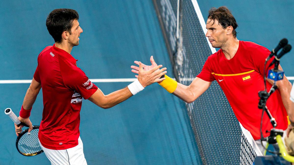 Novak Djokovic und Rafael Nadal beim ATP Cup