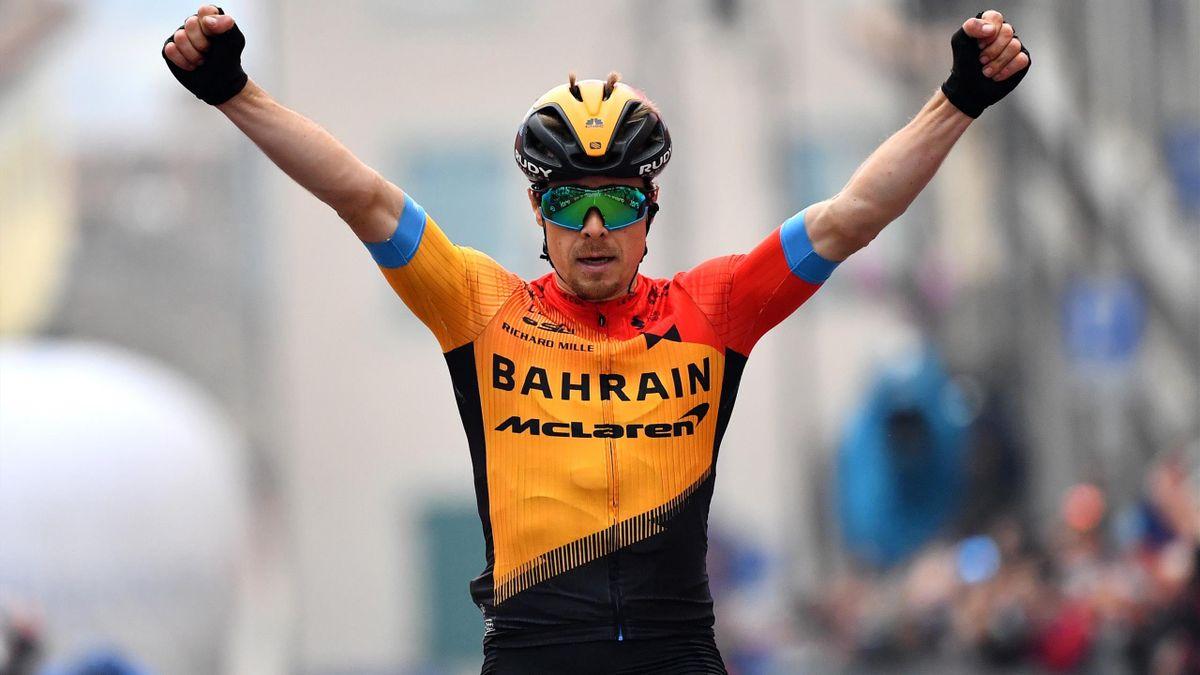 Jan Tratnik of Slovenia and Team Bahrain - Mclaren / Celebration / during the 103rd Giro d'Italia 2020, Stage 16 a 229km stage from Udine to San Daniele Del Friuli 249m/ @girodiitalia / #Giro / on October 20, 2020 in San Daniele Del Friuli, Italy