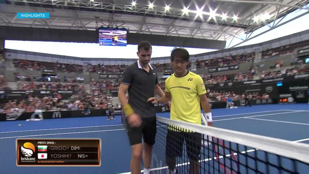 ATP Tour Brisbane - 1rst Day - Highlights Dimitrov v Nishioka