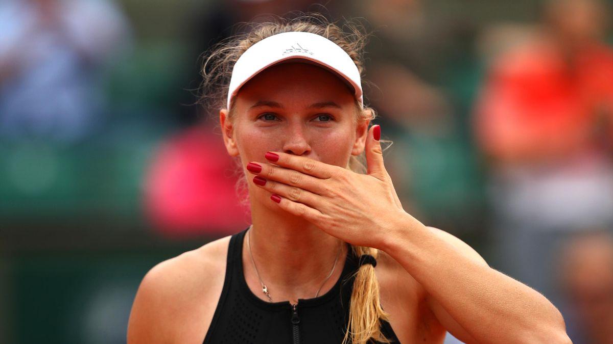 Caroline Wozniacki of Denmark celebrates victory