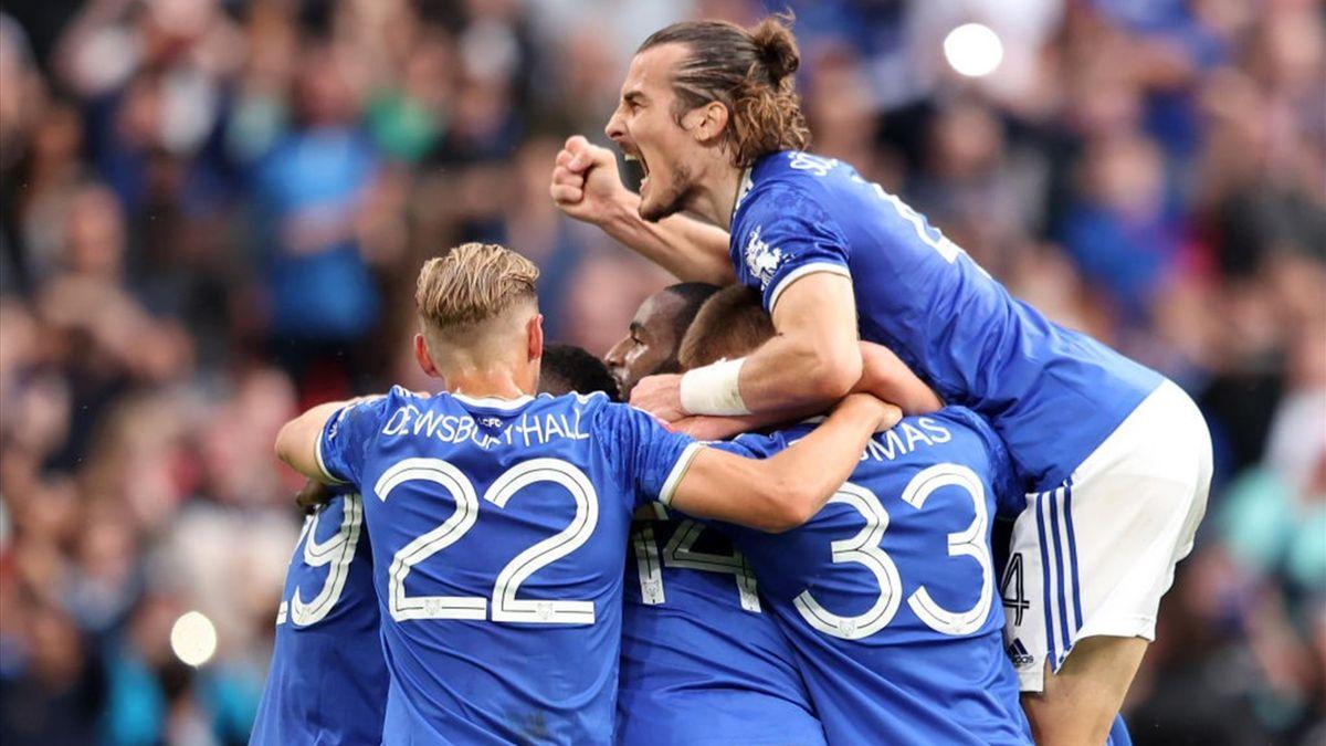 Esultanza dei giocatori del Leicester per il gol di Iheanacho - Leicester City-Manchester City - Community Shield 2021