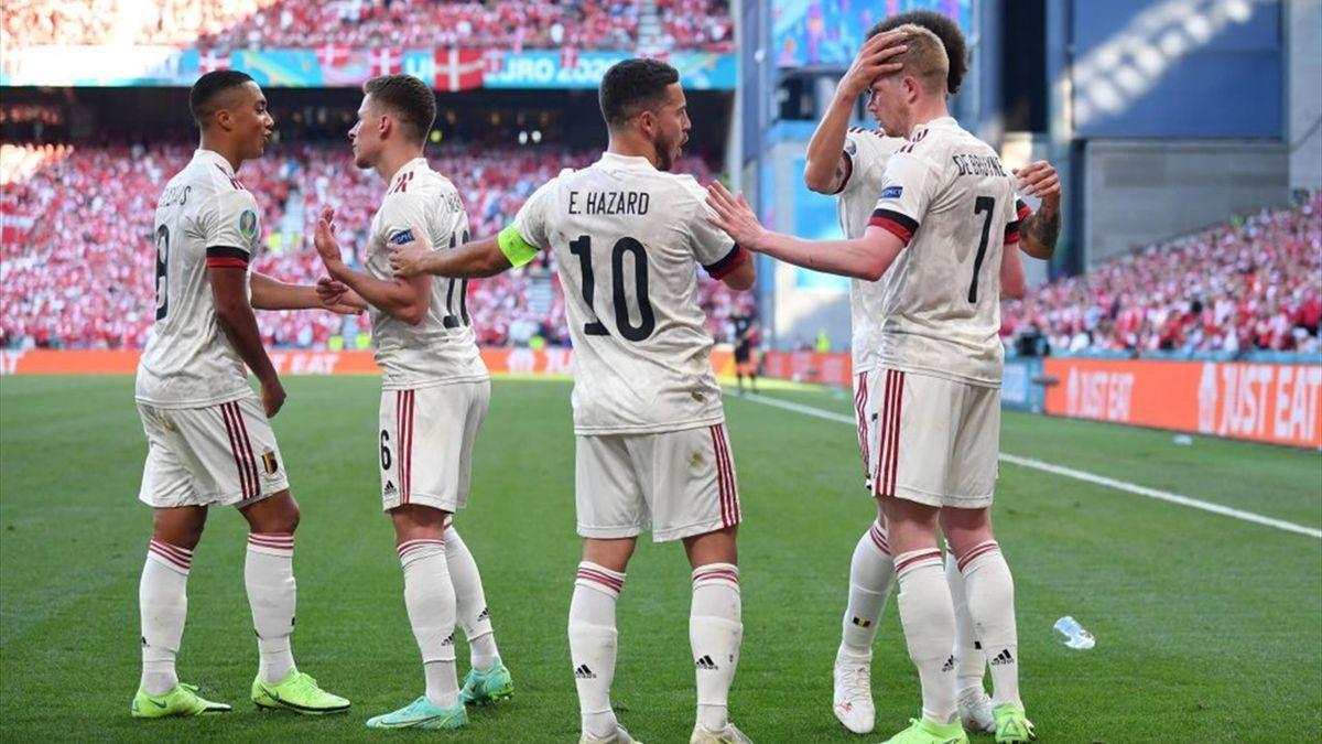 La joie des joueurs belges face au Danemark