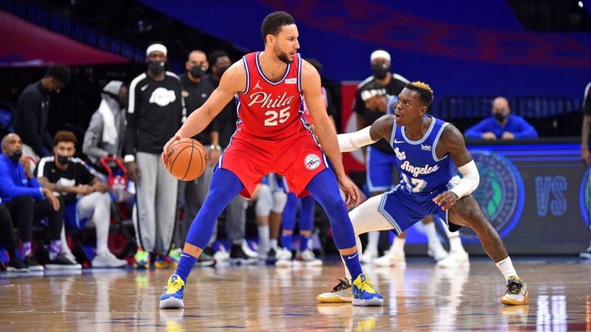 Ben Simmons et Dennis Schroder lors de Los Angeles Lakers - Philadelphie en NBA le 27 janvier 2021
